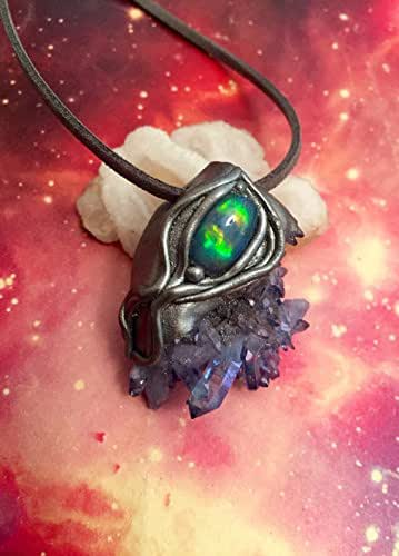 Trascendance, Fire Opal Necklace. Indigo Aura Quartz Cluster Pendant. Raw Opal jewelry. Out of Body Lucid Dreaming. fire opal jewelry
