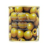 Green Olives Stuffed with Anchovy Waitrose 200g - Pack of 6