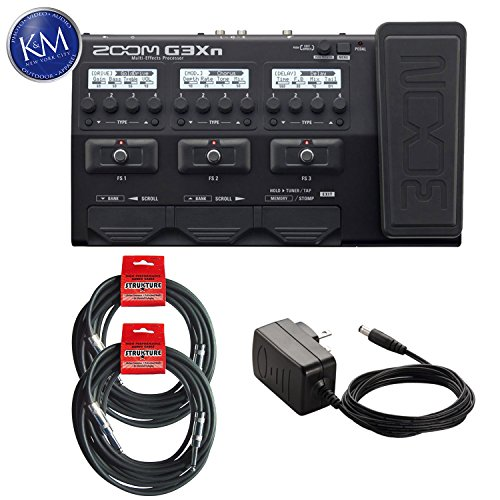 Built In Expression Pedal - Zoom G3Xn Effects Processor w/Built-In Expression Pedal + 2 Instrument Cables