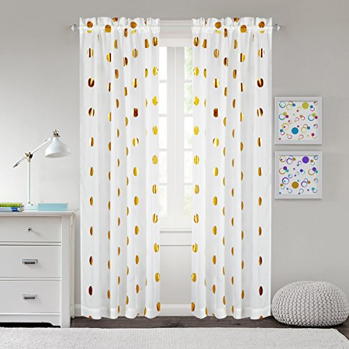 - Mainstays Metallic Dot Window Panel, Set of 2, Gold, 50