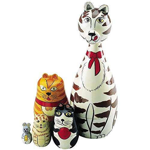 Bits and Pieces - ''Cleo & Friends Nesting Cats-Hand Painted Wooden Nesting Dolls Matryoshka - Set of 5 Dolls From 7'' Tall with Gift Box by Bits and Pieces (Image #1)