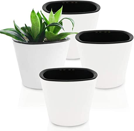 Self Watering Flower Plants Pot Herbs Planter Round Succulent Flowerpot Decor