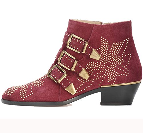 Comfity Women's Rivets Studded Shoes Metal Buckle Low Heels Ankle Boots - stylishcombatboots.com