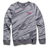 Under Armour Boys' Rival Cotton Crew Top Steel / Graphite / Risk Red XL