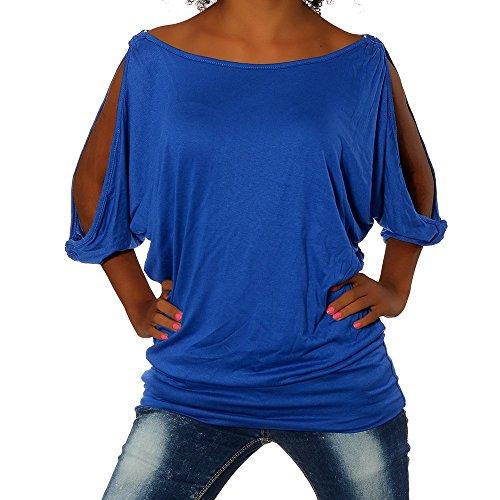 Femmes Pull Chemisier Inconnu Mesdames Long G305 Dames Bleu Tunique gBw4xq5z
