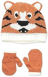 Carters Baby-Boys Marled Tiger Hat and Mitten Set, Orange, 0-9 Months