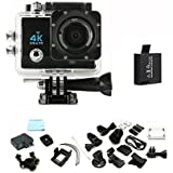 Mengshen 4K Ultra HD Sports Action Camera, 30M Water Resistant Wifi Cameras with 170 Wide-Angle Lens/2.0 Inch Screen for Outdoor Sports Activities Q3HMei Black