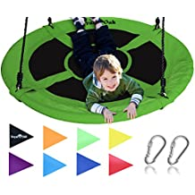 """Giant 40"""" Saucer Tree Swing in Elite Green - 400 lb Weight Capacity - Durable Steel Frame, Waterproof - Adjustable Ropes - Easy to Install - Bonus Flag Set and 2 Carabiners - Non-Stop Fun for Kids!"""