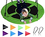 "Giant 40"" Saucer Tree Swing in Elite Green - 400 lb Weight Capacity - Durable Steel Frame, Waterproof - Adjustable Ropes - Easy to Install - Bonus Flag Set and 2 Carabiners - Non-Stop Fun for Kids!"