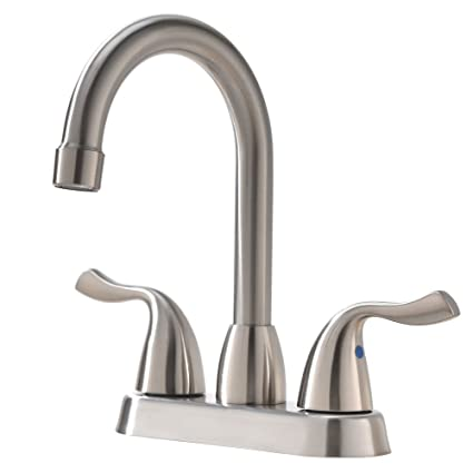 Hotis Commercial Two Handle Stainless Steel Brushed Nickel Bathroom Faucet,  Lavatory Bathroom Faucets Without Pop
