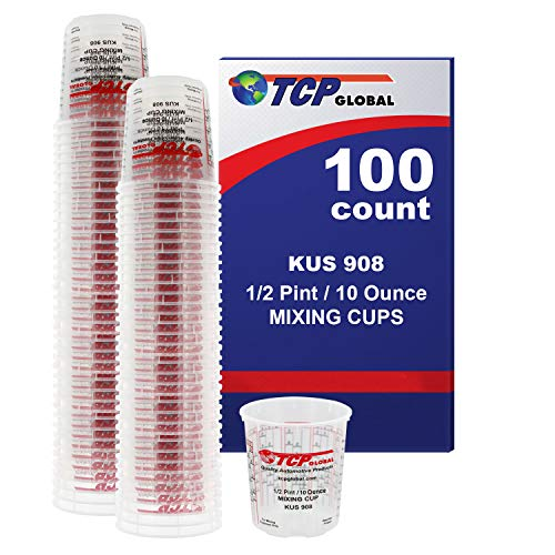 Kus Quick Mix Cups - Custom Shop Brand (Full Case of 100 Each - 1/2 Pint (8oz) Paint Mixing Cups) - Cups Have Calibrated Mixing Ratios on Side of Cup BOX of 100 Cups