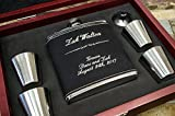 Best Man Flask Woods - Personalized Black Leather Flask Wood Box Set- Groomsmen Review