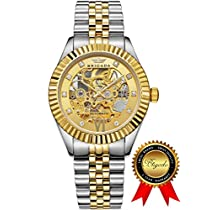 BRIGADA Luxury Gold Automatic Watches for Men, Swiss Brand Nice Hollow Mechanical Mens Watches, Great Gift for Families, Lover, Friends or Yourself