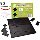 Adhesive Magnets Magnetic Tape Squares, 1 Tape Sheet of 90 Refrigerator Magnets(20x20x2mm) with 20 FREE 3M Double Sided Tape, Self Adhesive/Reusable. Perfect for Fridge Organization, DIY Art Project