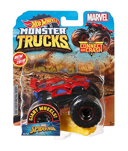 Hot Wheels Monster Trucks Spider-Man Character Vehicle - Connect and Crash Car Included 30/50 1:64 - Red and Black Vehicle with Giant Wheels (Truck Carrying Case)
