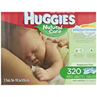 Huggies Natural Care Baby Wipes, Refill, Unscented, Hypoallergenic, Aloe and Vitamin E, 320 Count