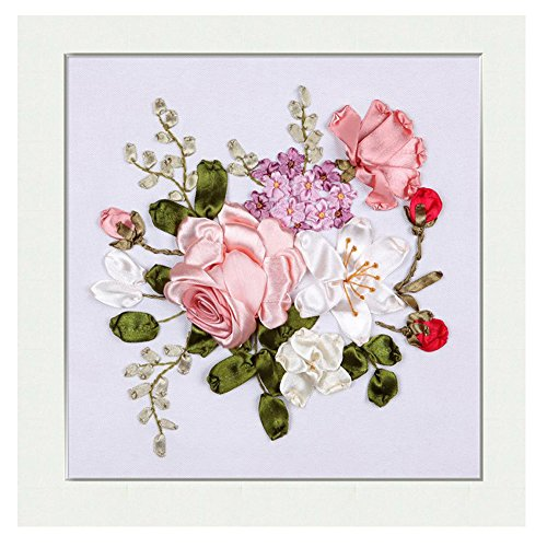 Egoshop Silk Ribbon Embroidery Spring Flower blooming Kit Eight Couplet Painting X5002A DIY Wall Decor Stamp Silk Ribbon Embroidery Kit With English Instruction(No Frame)