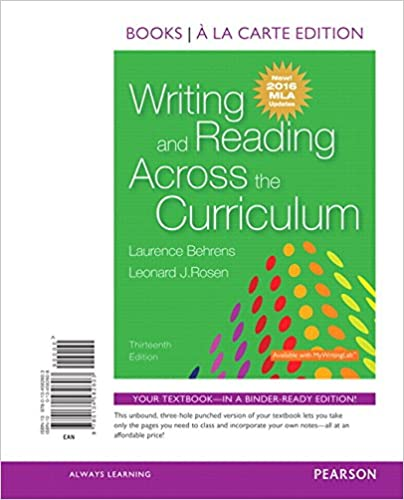 writing and reading across the curriculum 11th edition pdf