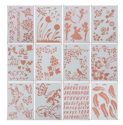 Pulaisen Journal Stencils Plastic Planner Templates with Different Design for Scrap Booking Notebook Diary Drawing Card Journaling DIY Craft etc Pack of 12 (10 x 7 inch)