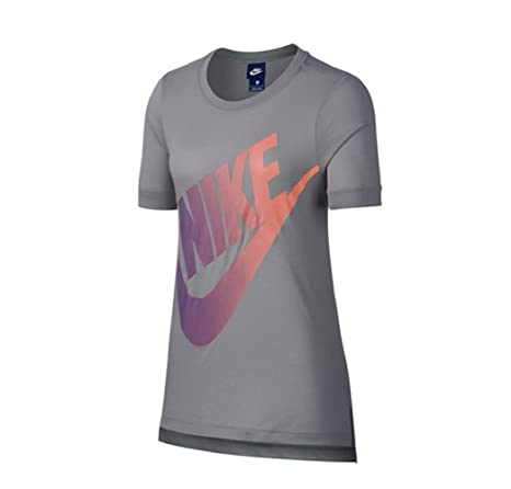 Nike W NSW SS Logo Futura, Top Mujer, Mujer, 890758, Atmosphere Grey