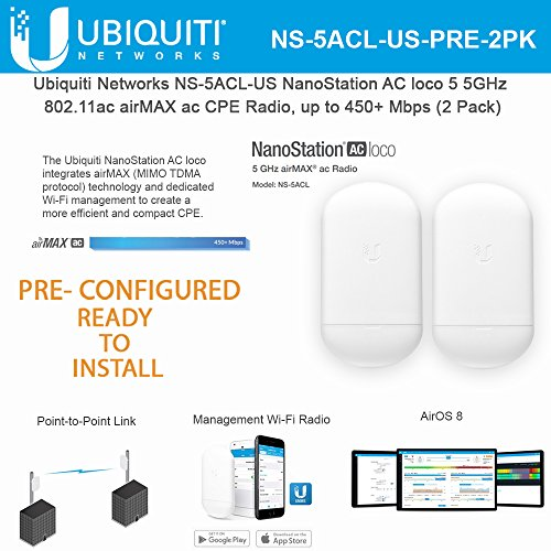 NanoStation AC loco 5 NS-5ACL-US PRE CONFIGURED 5GHz 802.11ac Airmax ac CPE Radio 450+ Mbps Wireless Access Point (No Power Supplies)