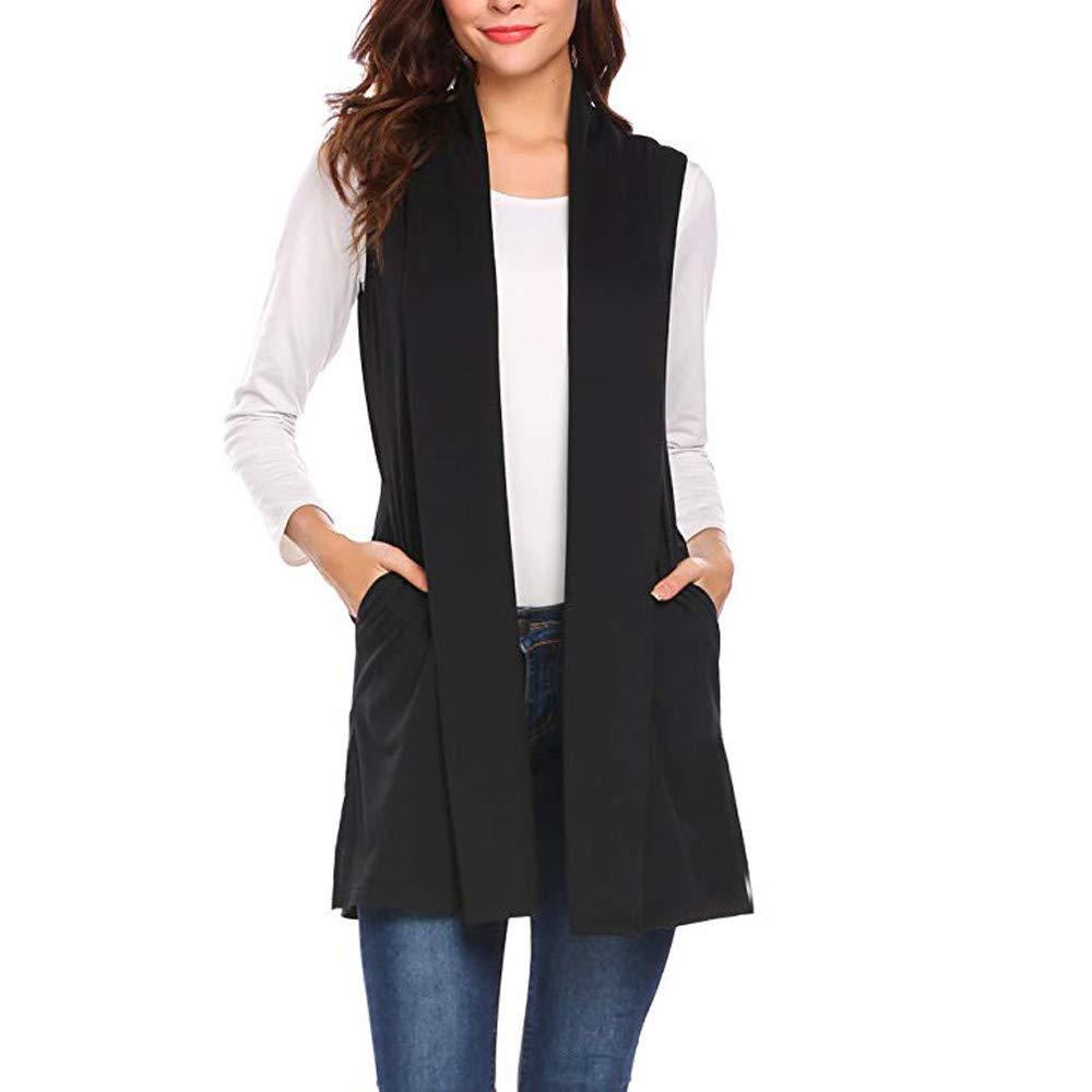 F_topbu Womens Cardigans Casual Sleeveless Cape Shawl Pocket Draped Open Front Cardigan Vest Coat Black