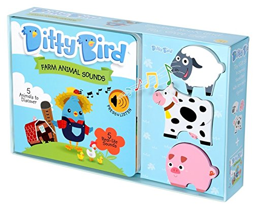 Ditty Bird OUR BEST GIFT BOX: ​INTERACTIVE MUSICAL NOISY FARM ANIMALS BOOK AND TOY FIGURES for BABIES. Learning Toys for​ ​Baby, Toddler, one year old. 1 year old boy gifts. 1 year old girl gifts.
