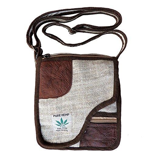 100% Hemp Side Shoulder Bag with Leather Trim