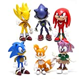 6 Pcs Sonic the Hedgehog Action Figures, Cake Toppers, 2.4''