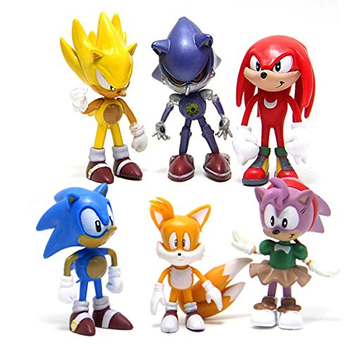 6 Pcs Sonic the Hedgehog Action Figures, Cake Toppers, 2.4'' by STEAM