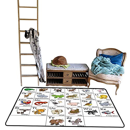 (Educational, Kids Carpet Playmat Rug, Alphabet Learning Chart with Cartoon Animals Names Letters Upper and Lowercase (W56 x L64 Inch, Multicolor))