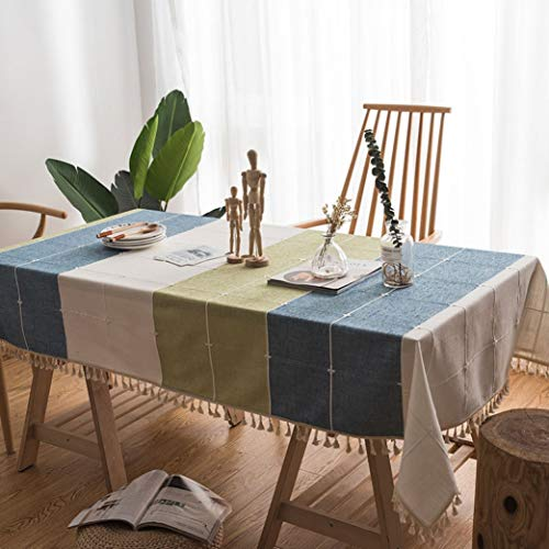 - RXIN Rectangular Linen Tablecloth Square Lattice Satin Table Cover with Lace Cotton Tassel for Home Decoration