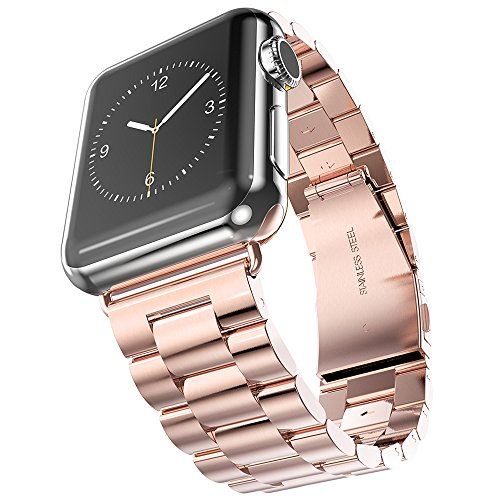 Apple Watch Band, 38mm Premium Stainless Steel Watch Strap, Metal Link Bracelet Watch Strap, Wrist Band Replacement Straight End Solid Links with Fold-over Safety Clasp Closure for Apple Watch 38mm (Rose Gold)