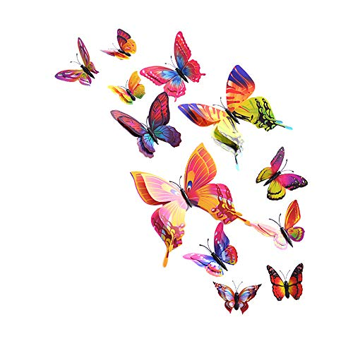 (Wociaosmd 3D Butterfly Wall Sticker Fridge Magnet Room Decor Nursery Decal Applique 12Pcs)