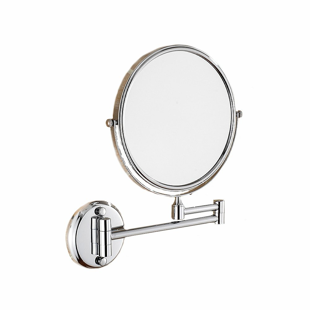 DW& HX Extendable makeup mirror, Wall mounted Two-sided swivel Bathroom mirror Stainless steel 3x magnification-A CNHJNBXN