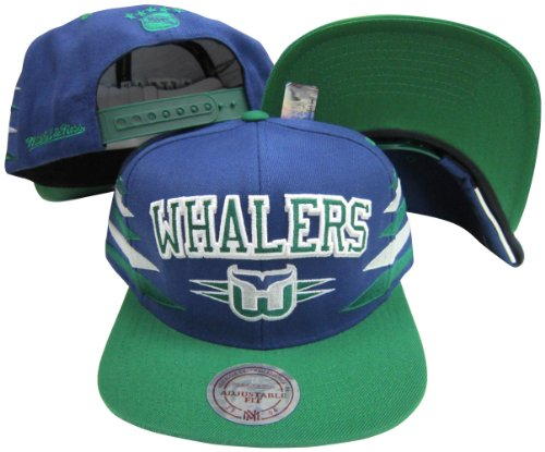 (Harford Whalers Diamond Blue/Green Two Tone Plastic Snapback Adjustable Snap Back Hat / Cap)