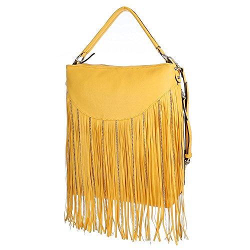 Schultertasche Handtasche mit Fransen Hellbraun Gelb NGK5PRMi