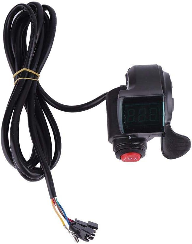 VGBEY Acelerador de Ebike, Acelerador de aceleración del Pulgar Manillar de Velocidad de Bicicleta con Pantalla de alimentación de Voltaje de LCD, Interruptor de 3 velocidades