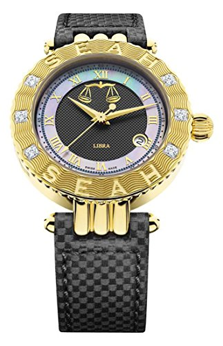 Diamond White Leather Watch (Seah Empyrean Zodiac sign Libra, Limited Edition 42mm, 18K Yellow Gold, Swiss Made Automatic, Diamond Watch with Black Hirsch Alligator Leather Band.)