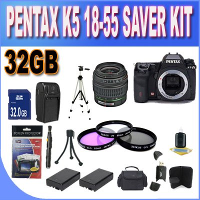UPC 662425805242, Pentax K-5 16.3 MP Digital SLR Black with PENTAX 18-55 f/3.5-5.6 II AF LENS w/32GB SDHC Memory + 2 Extended Life Batteries + Ac/Dc Charger + 3 Piece Filter Kit + SDHC USB Card Reader + Shock Proof Deluxe Case w/Strap + Full Size Tripod + Memory Card Wallet + Lens Pen Cleaner + Mini Tripod + Accessory Saver Bundle