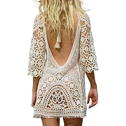 JOYEBUY Women's Bathing Suit Beach Cover Up Crochet Lace Bikini Swimsuit Tunic Dress (Medium, White)