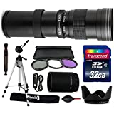 Opteka 420-1600mm f/8.3 HD Telephoto Zoom Lens Bundle Package includes 2X Teleconverter + 70 Tripod Photo/Video Tripod + 32GB Memory Card + 3 Piece UV-FL-CPL Filters + Hood + Remote Shutter Release Control + Dust Blower + Lens Pen + Cleaning Kit for Canon EOS 60D, 60Da, 70D, 100D, 550D, 600D, 650D, 700D, 1100D, 1200D, Rebel SL1, T2i, T3, T3i, T4i, T5, T5i, DSLR SLR Digital Camera