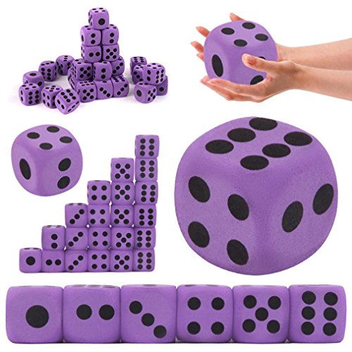 Purple Dice with Black Pips Dots for Board Games, Activity, Casino Theme, Party Favors, Prize Toy, Toy Gifts Specialty Giant EVA Foam Playing Dice Block - Health& Environmental &Safe for Children