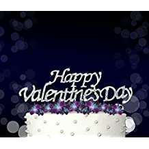 Happy Valentine's Day, Cake Topper, Crystal Rhinestones on Silver Metal, Party Decorations, Favors
