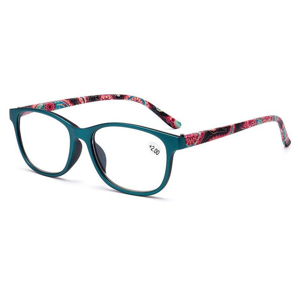 Inlefen Paquet de 2 lunettes de lecture, lunettes avec design floral, lecteurs de mode pour femmes et hommes