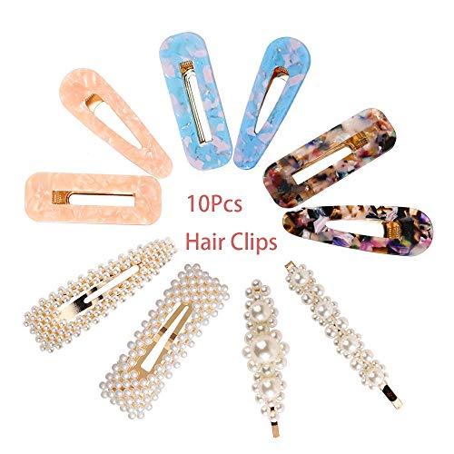 VGTE 10 Pcs Pearl Hair Clips Barrettes Fashion Handmade Acrylic Resin Hair Clips Hair Pins for Women Girls Headwear Tools Accessories