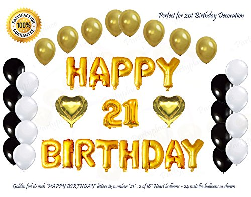 21st Heart Birthday (Shiny Golden Happy 21st Birthday Decorations Letters Balloon Set by PartyPlace, 16 Inch Gold Letter Mylar Foil Balloon, 2 Heart Shape Foil Balloons. Bonus-Metallic Balloons (21st Birthday))