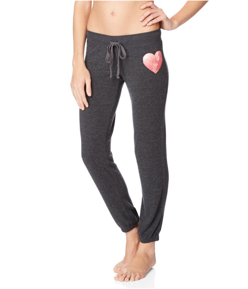Aeropostale Womens Slim Cinch Heart Casual Sweatpants Black L/29 - Juniors