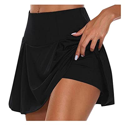 ANJUNIE Women Loose Shorts Skirt Basic Slip Bike Workout Leggings Yoga Shorts Capris Pant: Clothing