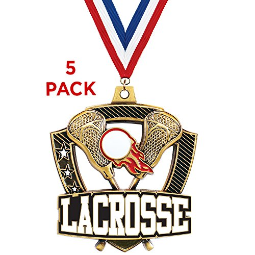 2 1/4'' Shieldz Lacrosse Medals - 5 Pack by Crown Awards